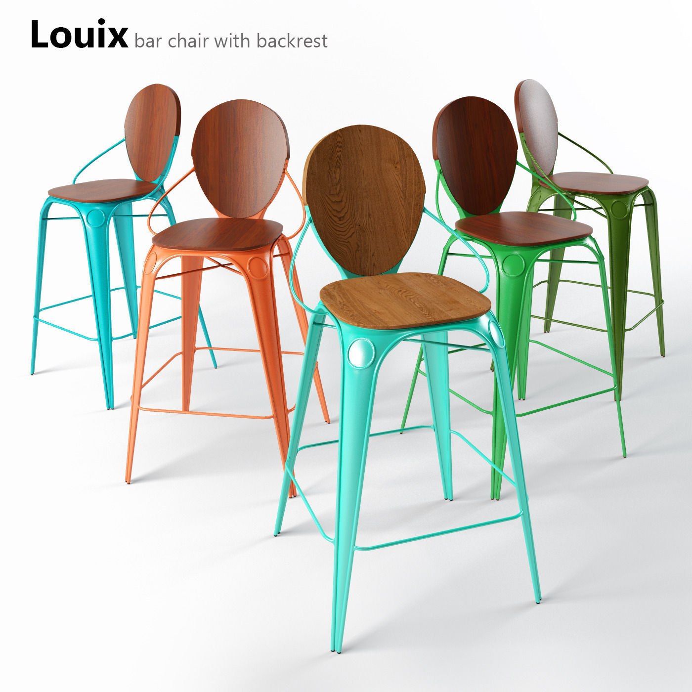 3D Louix bar chair with backrest