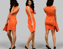 Woman in orange dress 3D asset