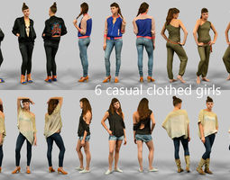 6 casual clothed girls 3D Model
