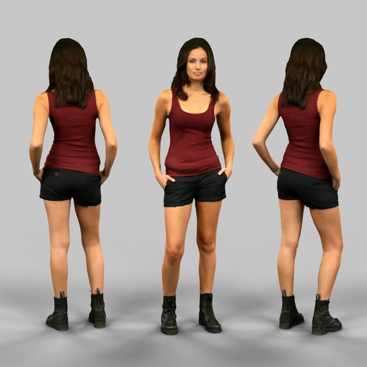 3D model Girl in red top and black shorts VR / AR / low-poly OBJ FBX