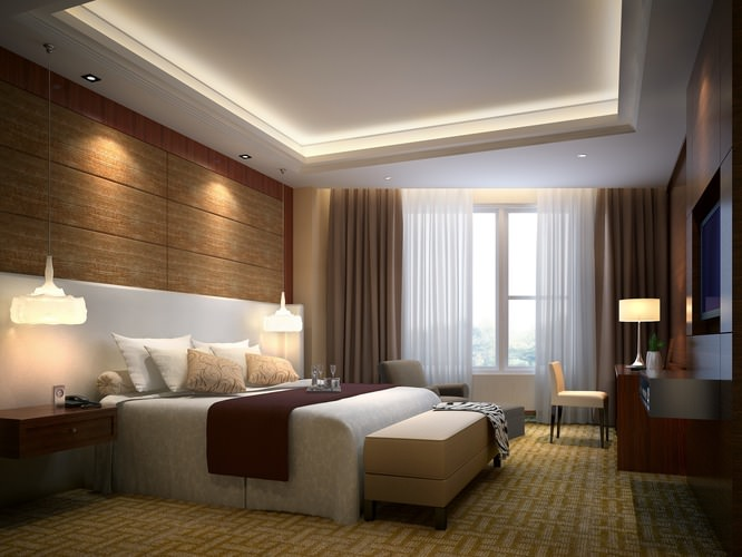 Hotel bedroom 3d model max for Model bedroom interior design