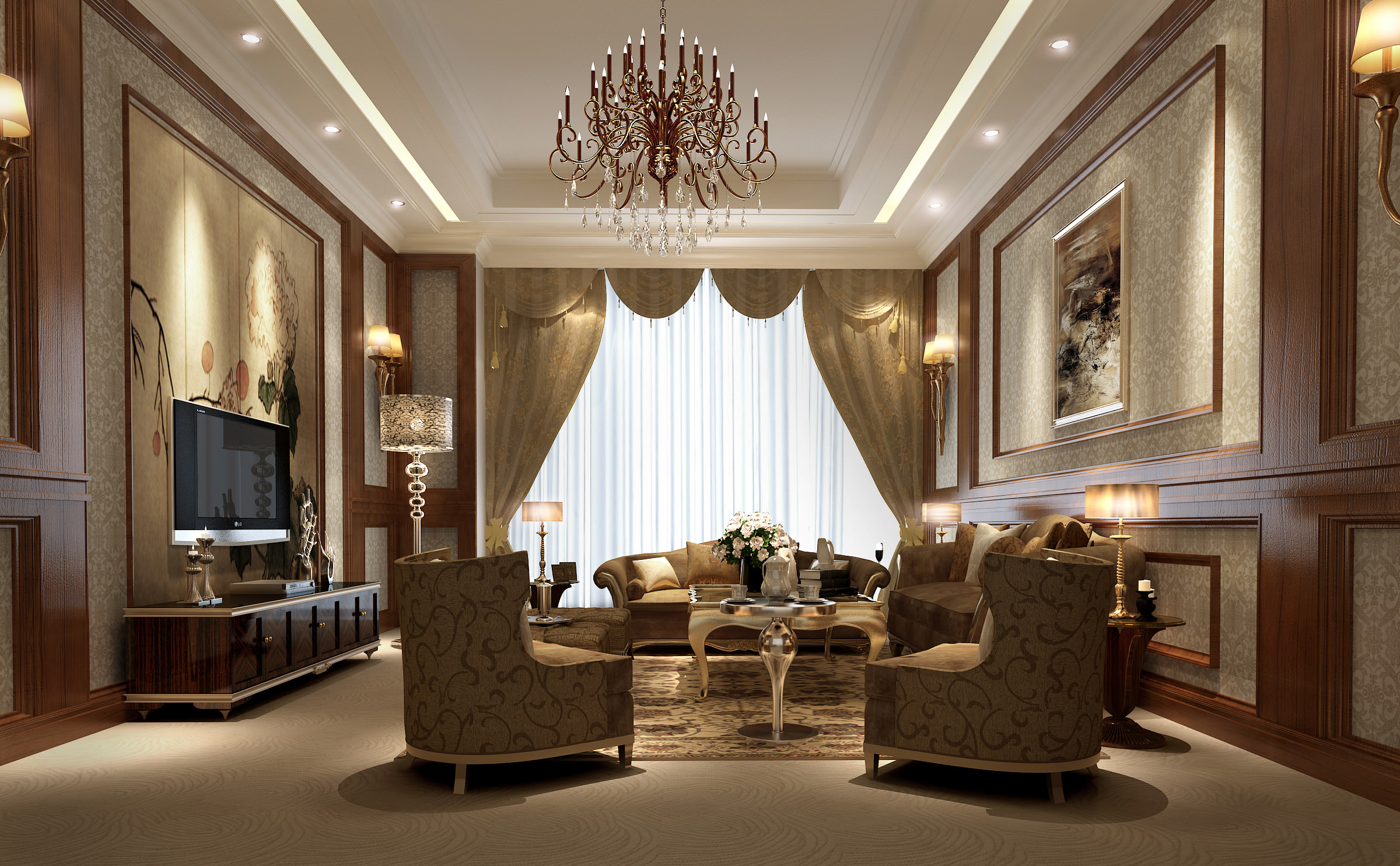 Luxury living room 3d model max for Beautiful wallpaper home decor