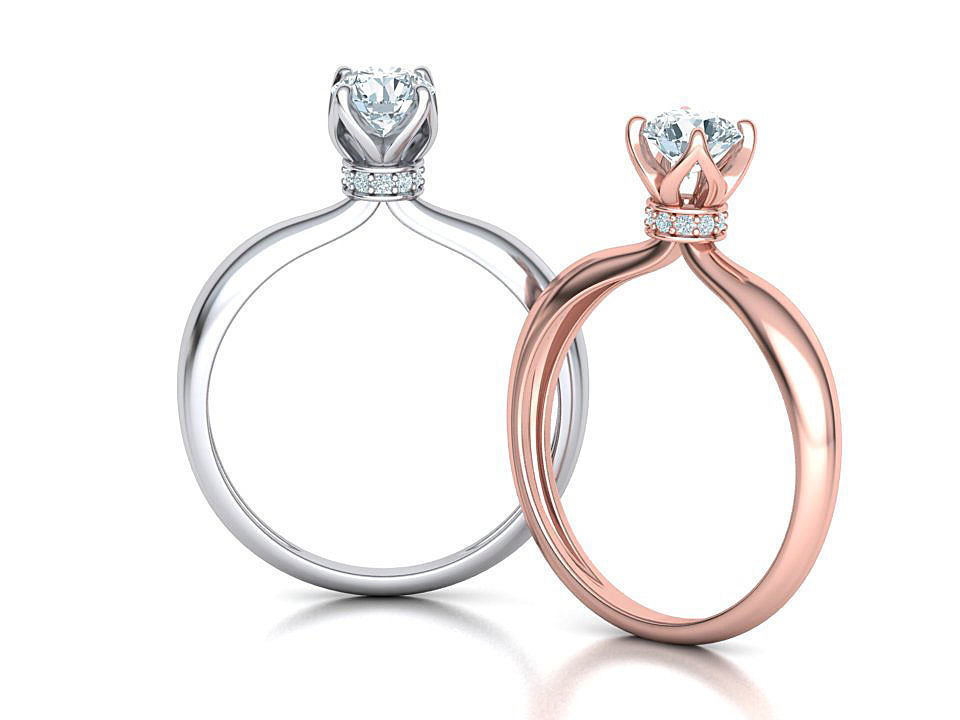 Solitaire Engagement ring 3dmodel with 5mm stone