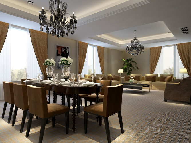 Living dining room 23319 3d model max tga for Dining room 3d max model