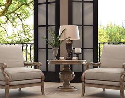 home interior design chairs table and lamp 3d model