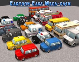 realtime cartoon cars mega-pack 3d asset