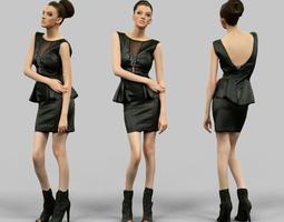 3D asset Leather dress girl