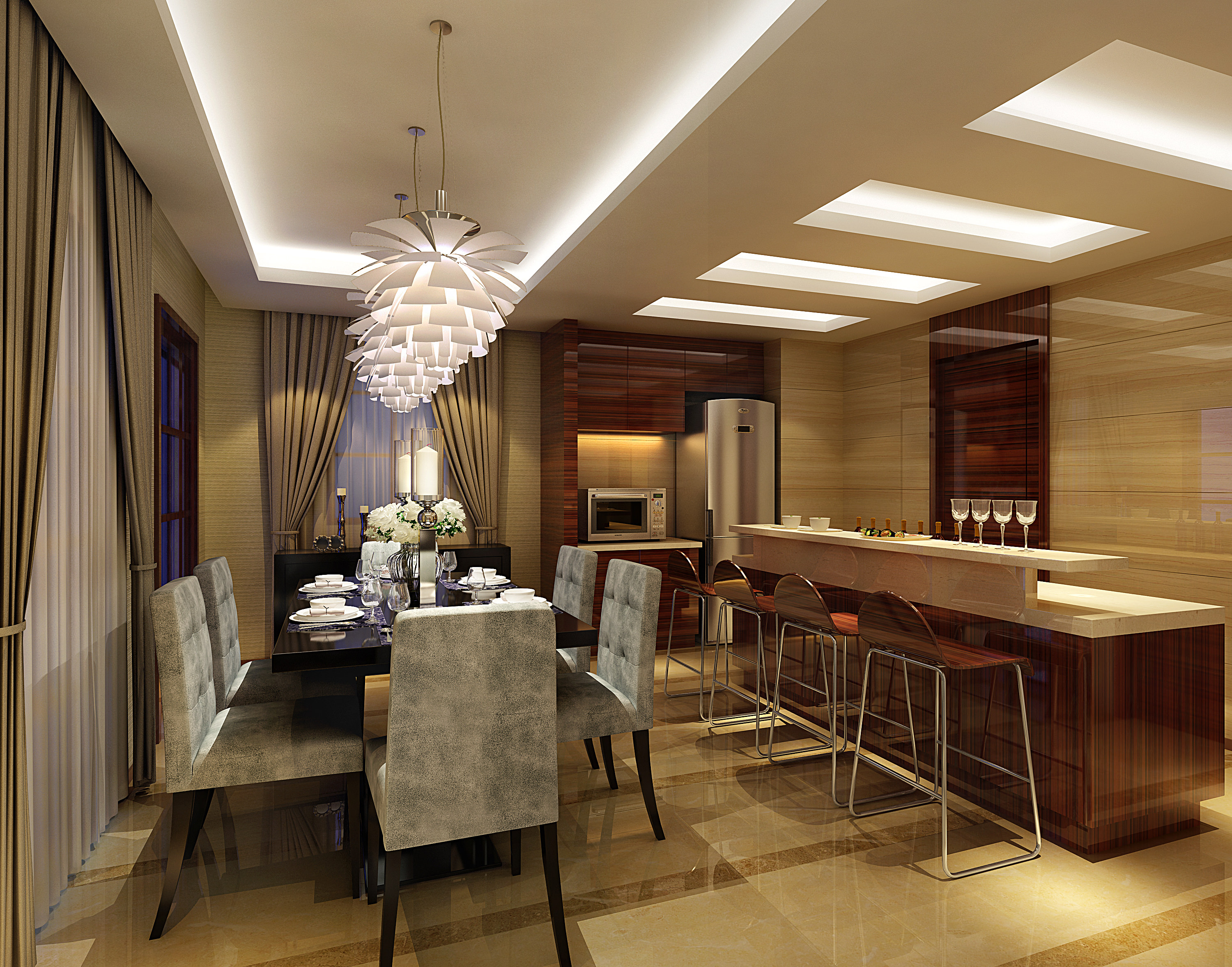 468 0 description comments 0 dining room with bar 3d model dining room ...