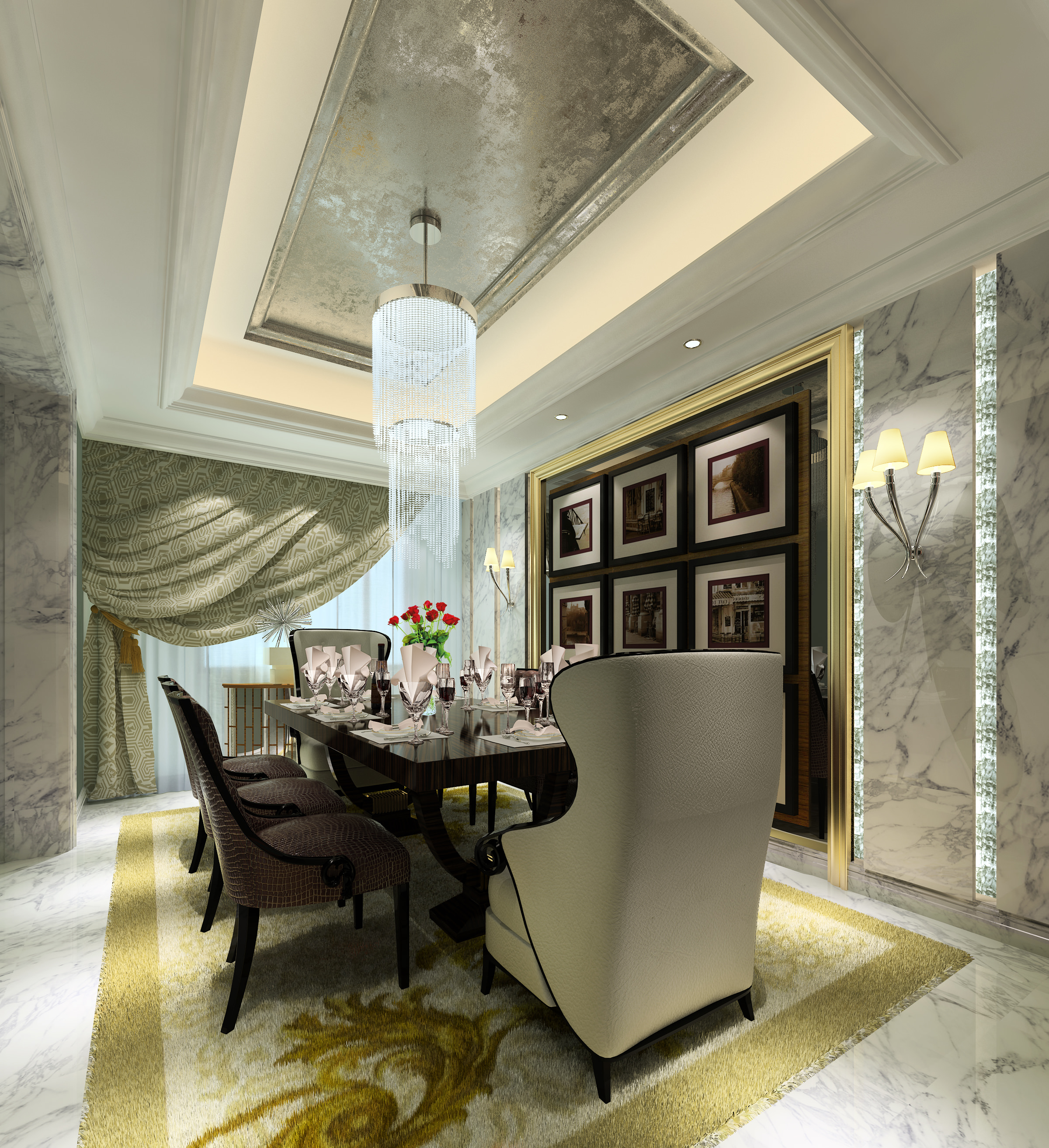 Luxury dining room 3d model max for Dining area wall design