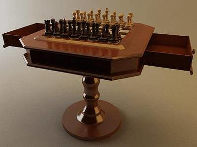 ... chess set with table - vray 3d model max obj stl wrl wrz mtl 3 ... & Chess Set with Table - Vray 3D model | CGTrader