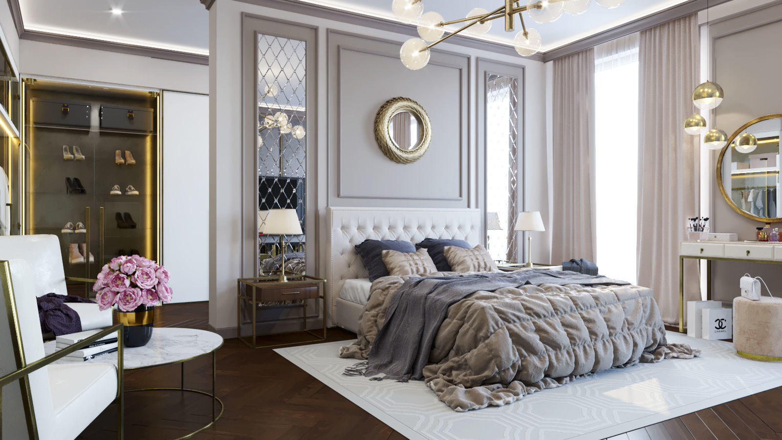 The  neoclassical style bedroom