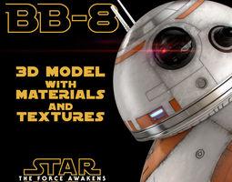 bb-8 star wars droid 3d model with materials and textures 3d model max obj fbx