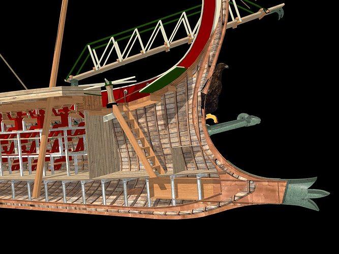Roman Trireme Battle Ship 3D Model MAX OBJ BLEND WRL WRZ ...