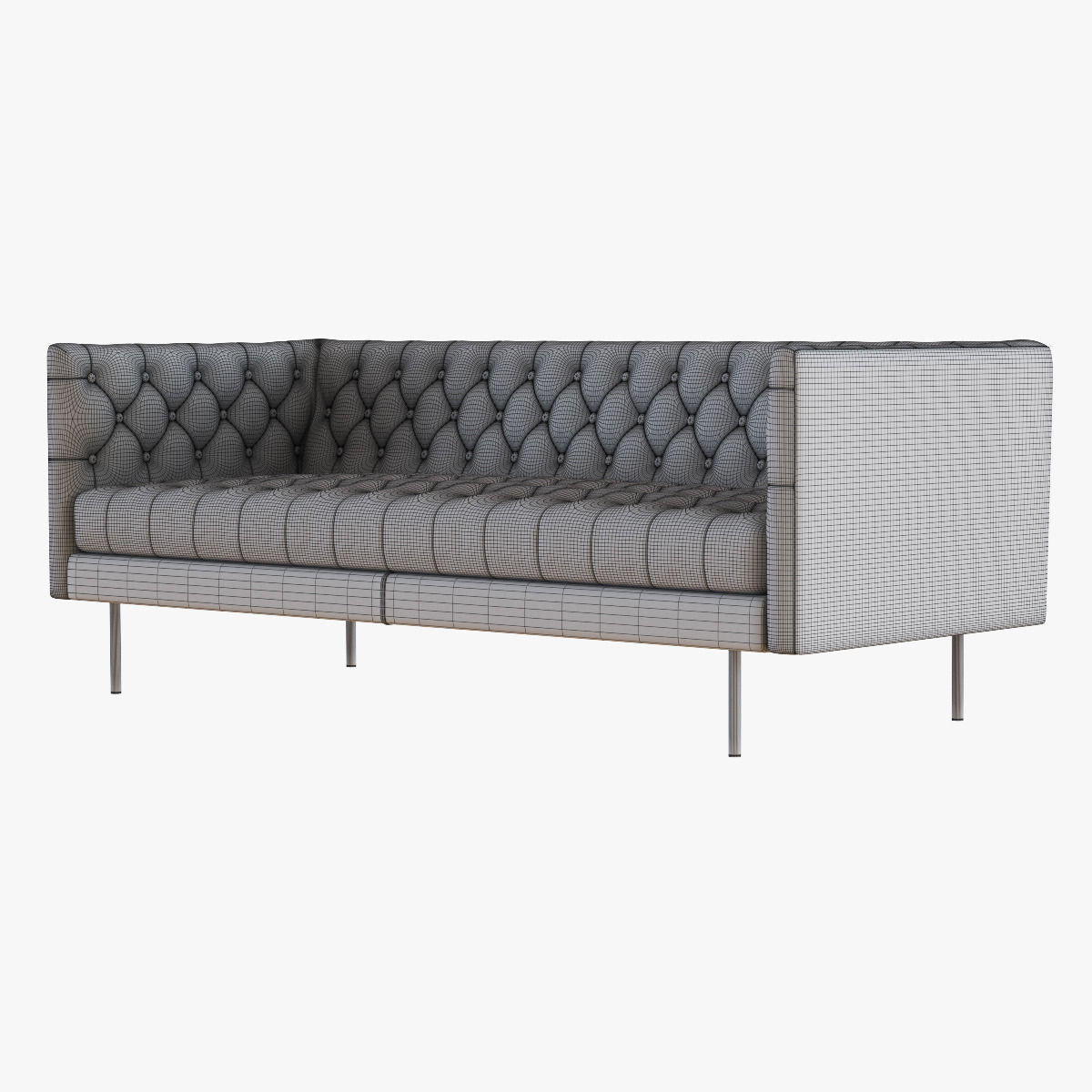 West Elm Modern Chesterfield Leather Sofa Model Max Obj Mtl Fbx 5