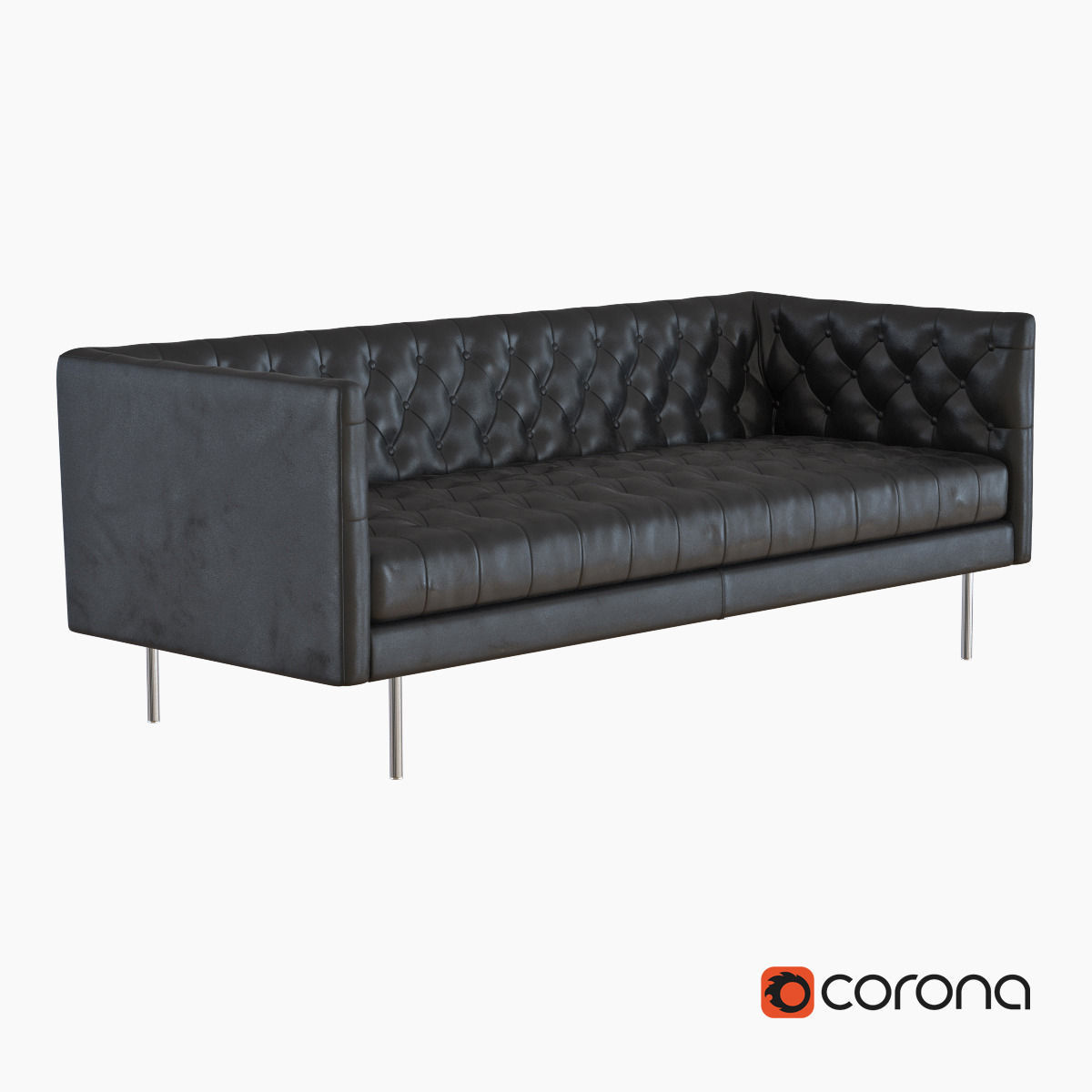 West Elm Modern Chesterfield Leather Sofa 3D Model MAX OBJ
