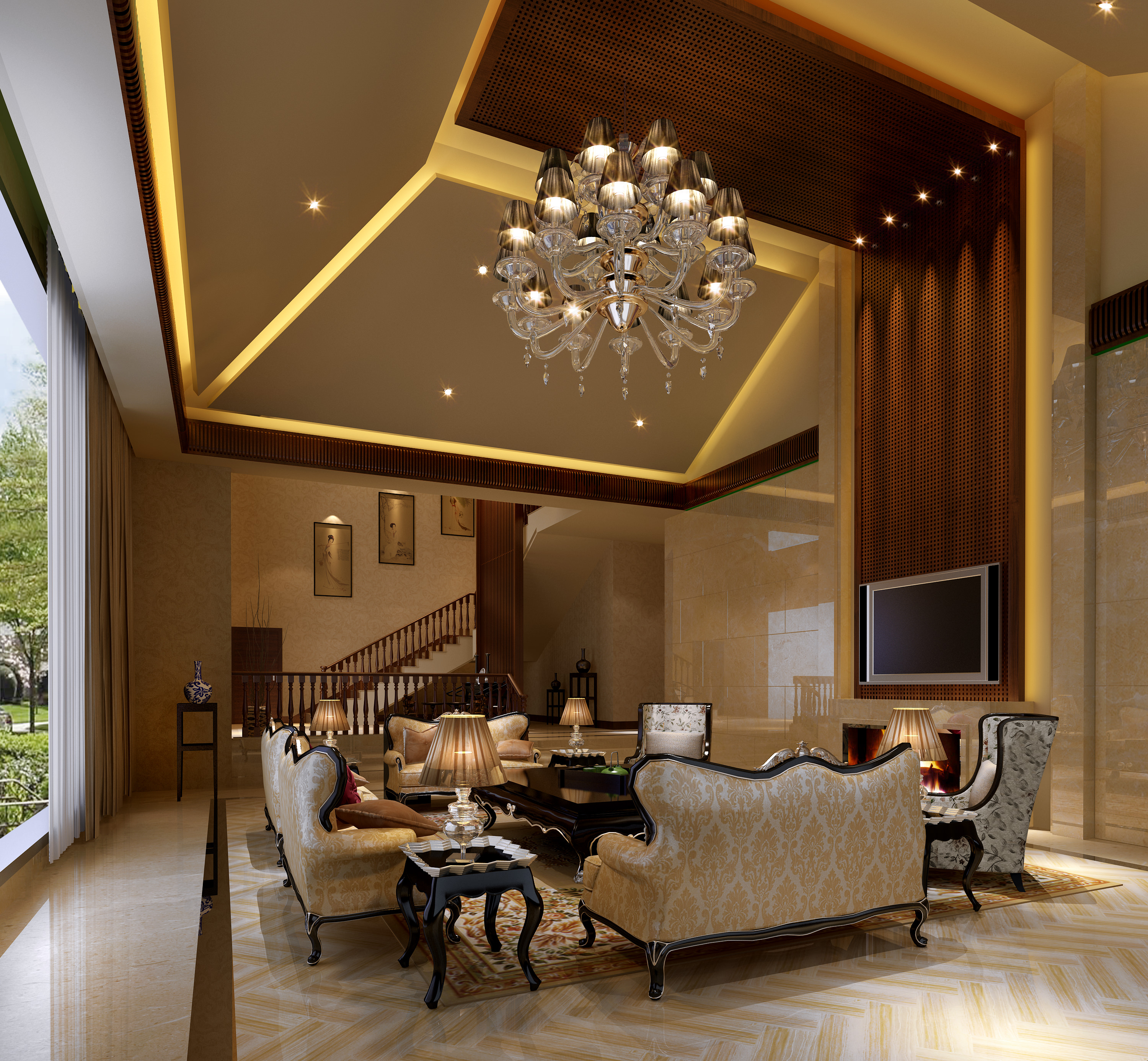 Luxury Living Room 3d Model Max 1 ...