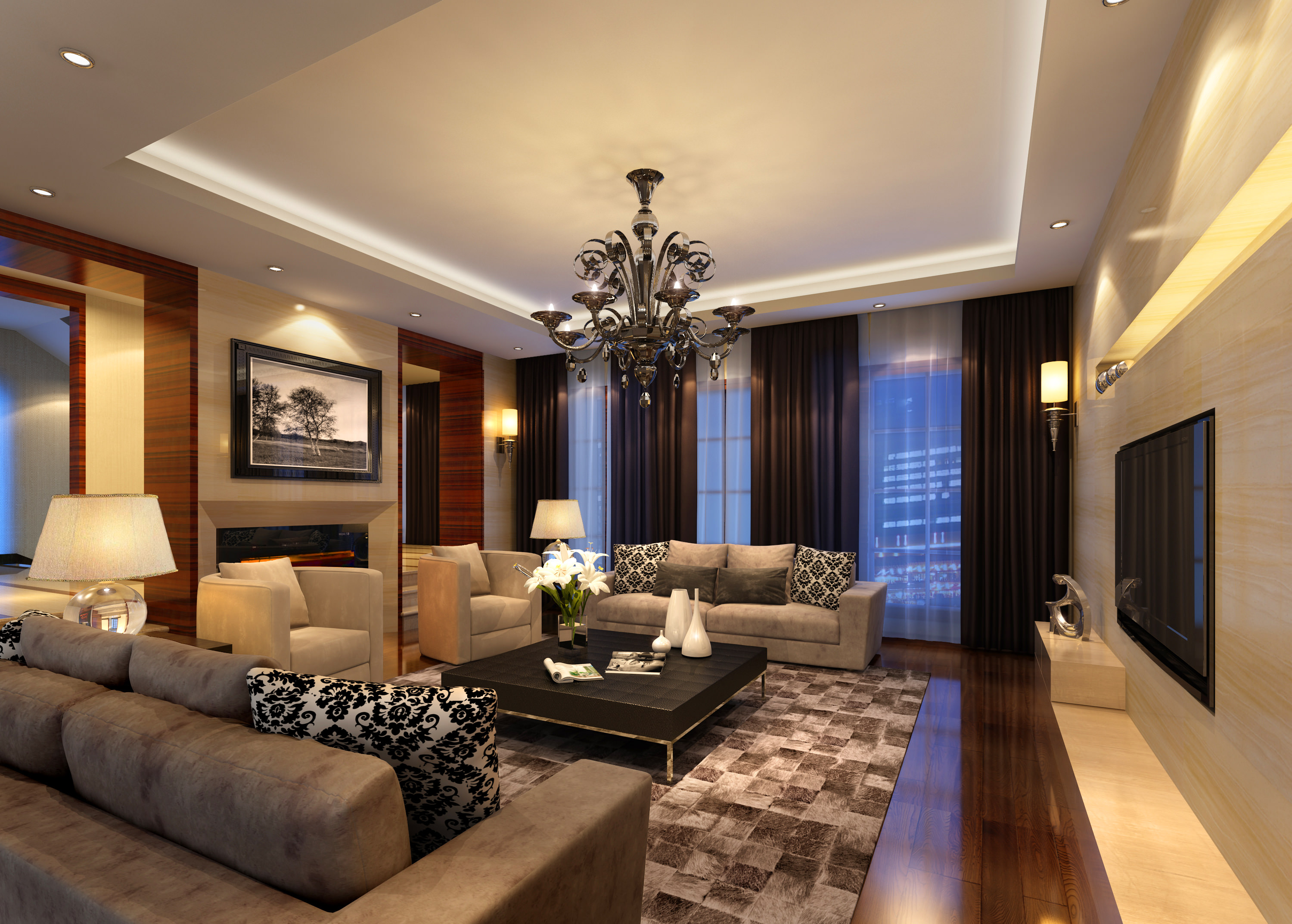 Living room 3d model max for 3d interior design of living room