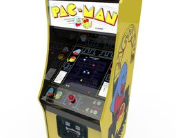 pacman arcade cabinet 3d model game-ready
