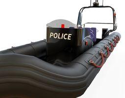 3d model zodiac police boat realtime