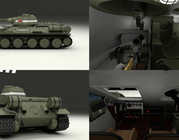 T34 76 Tank with Interior 3D