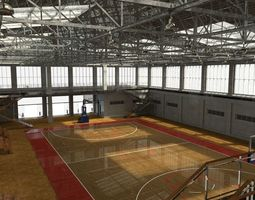 3D model VR / AR ready school basketball court
