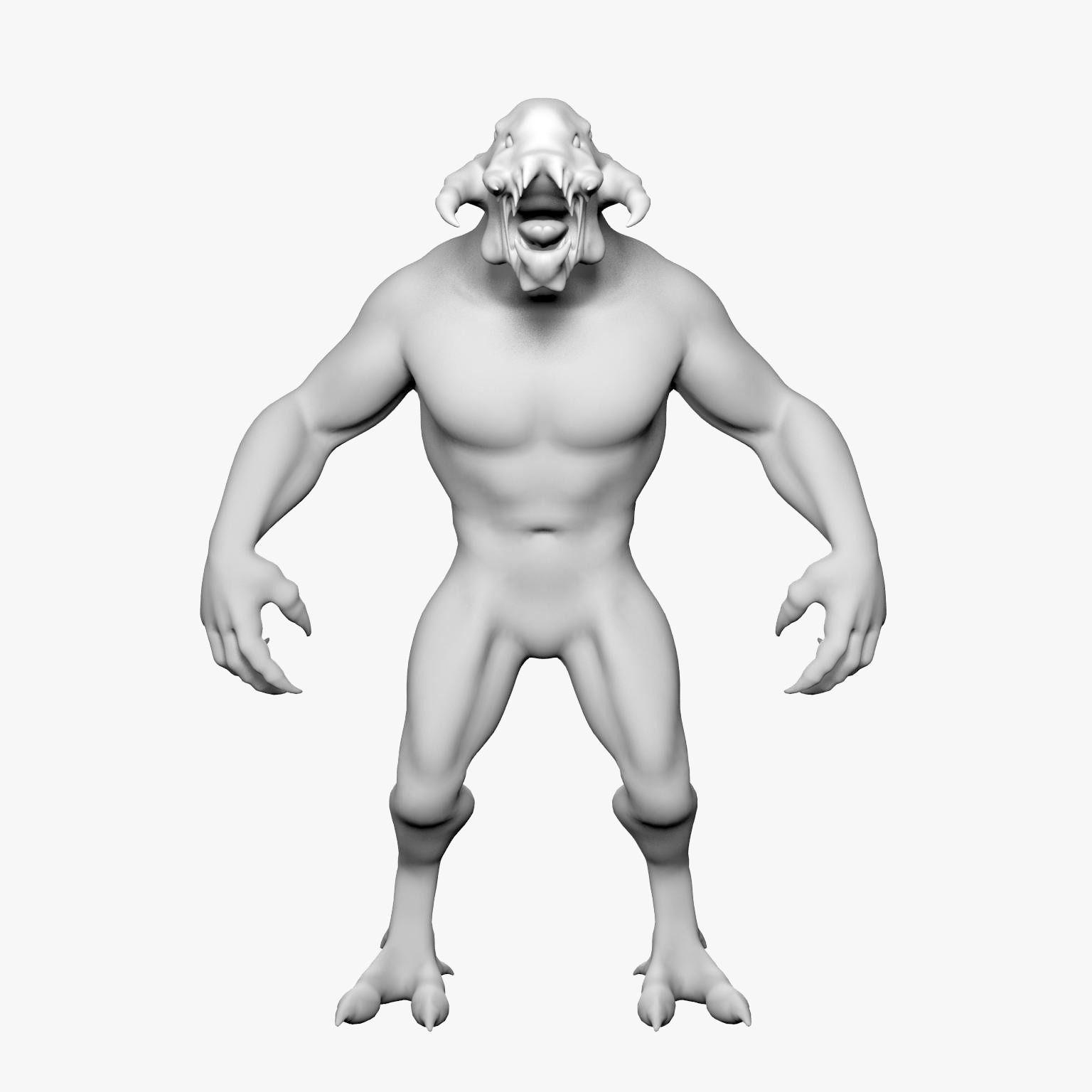 Monster 3d Model Game Ready Max Obj 3ds Fbx
