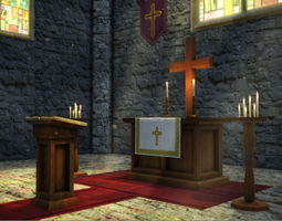 game-ready church interior props 3d model