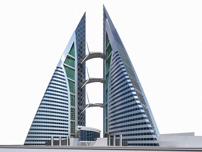 bahrain world trade center 3d model max obj fbx dae mtl 1