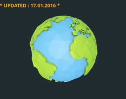 realtime 3d model low poly earth