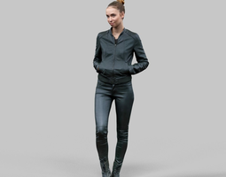 Walking girl in shiny black outfit 3D Model