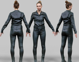 A-Posing girl in shiny black outfit 3D Model