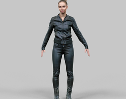 a-posing girl in shiny black outfit 3d model low-poly obj fbx