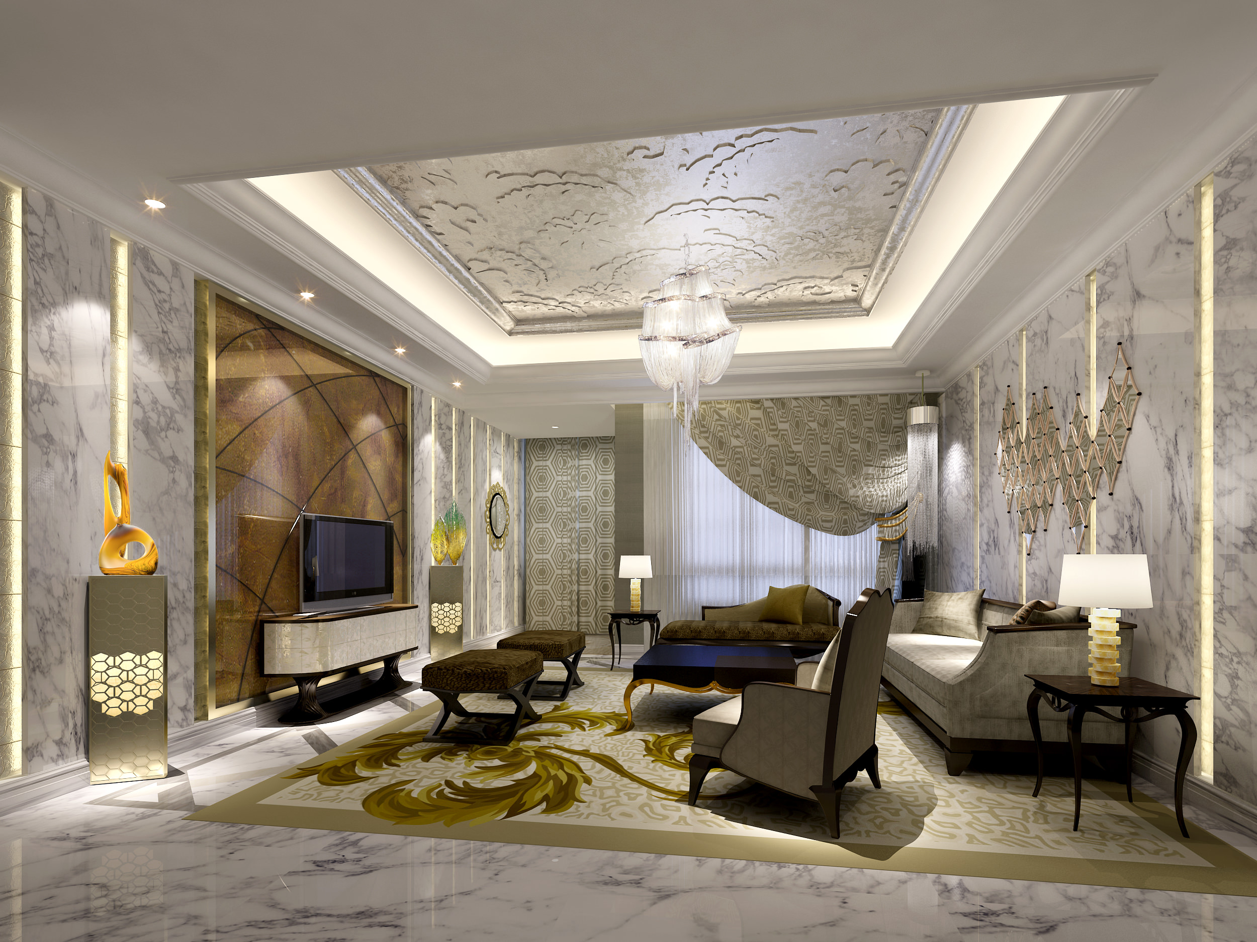 Luxury living room 3d model max for Luxury home models