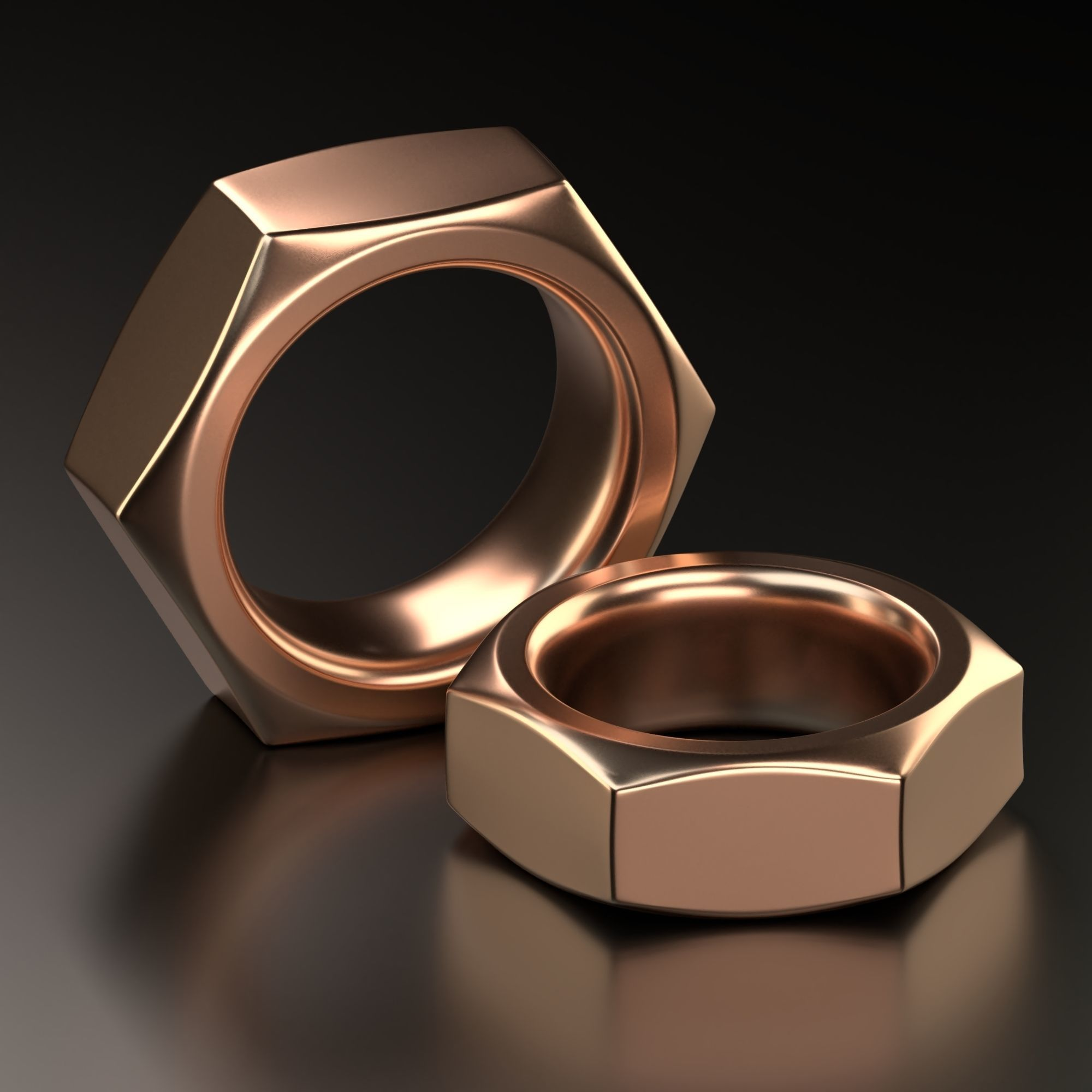 Screw Nut ring Jewelry Design  wedding band