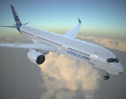 Airbus A350 900 with interior 3D Model