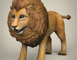 VR / AR ready low poly realistic lion 3d asset