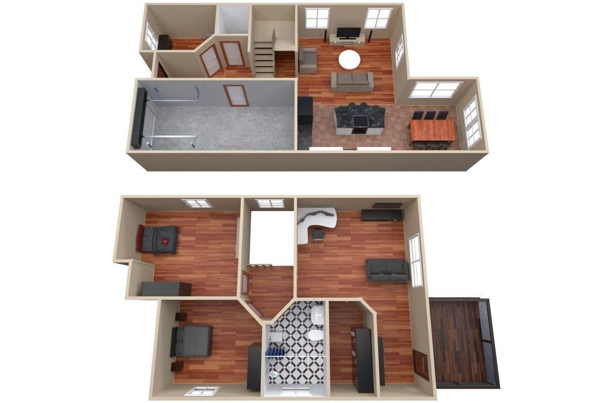 House Floor Plan 3d Model Obj 3ds Fbx Blend Dae 2