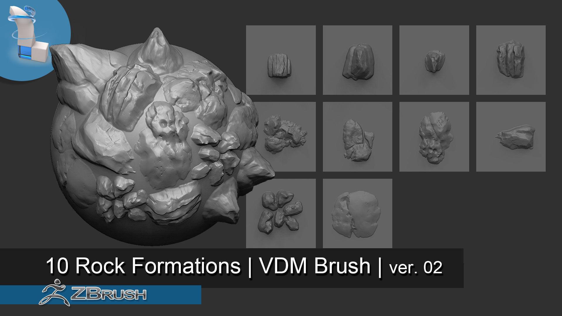 10 Arid Rock Formations 02 - Zbrush VDM Brush