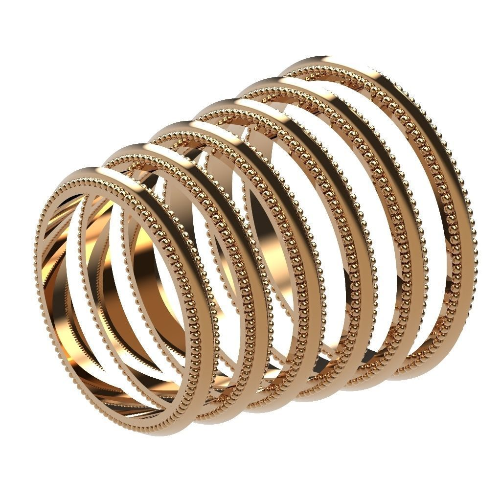 A Package 6 Classic Minimalism Ring Boho Set Gem All Size