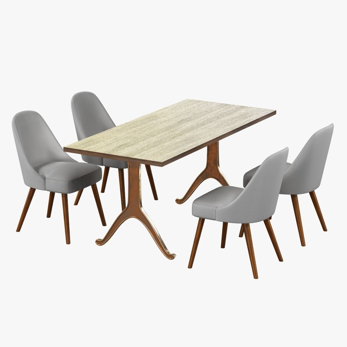 West Elm Mid Century Dining Chair And Table 3d Model Max Obj 3ds Fbx Mtl ...