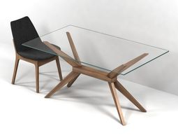 magna glass dining table by inmod  sohoconcept eiffel wood chair 3d