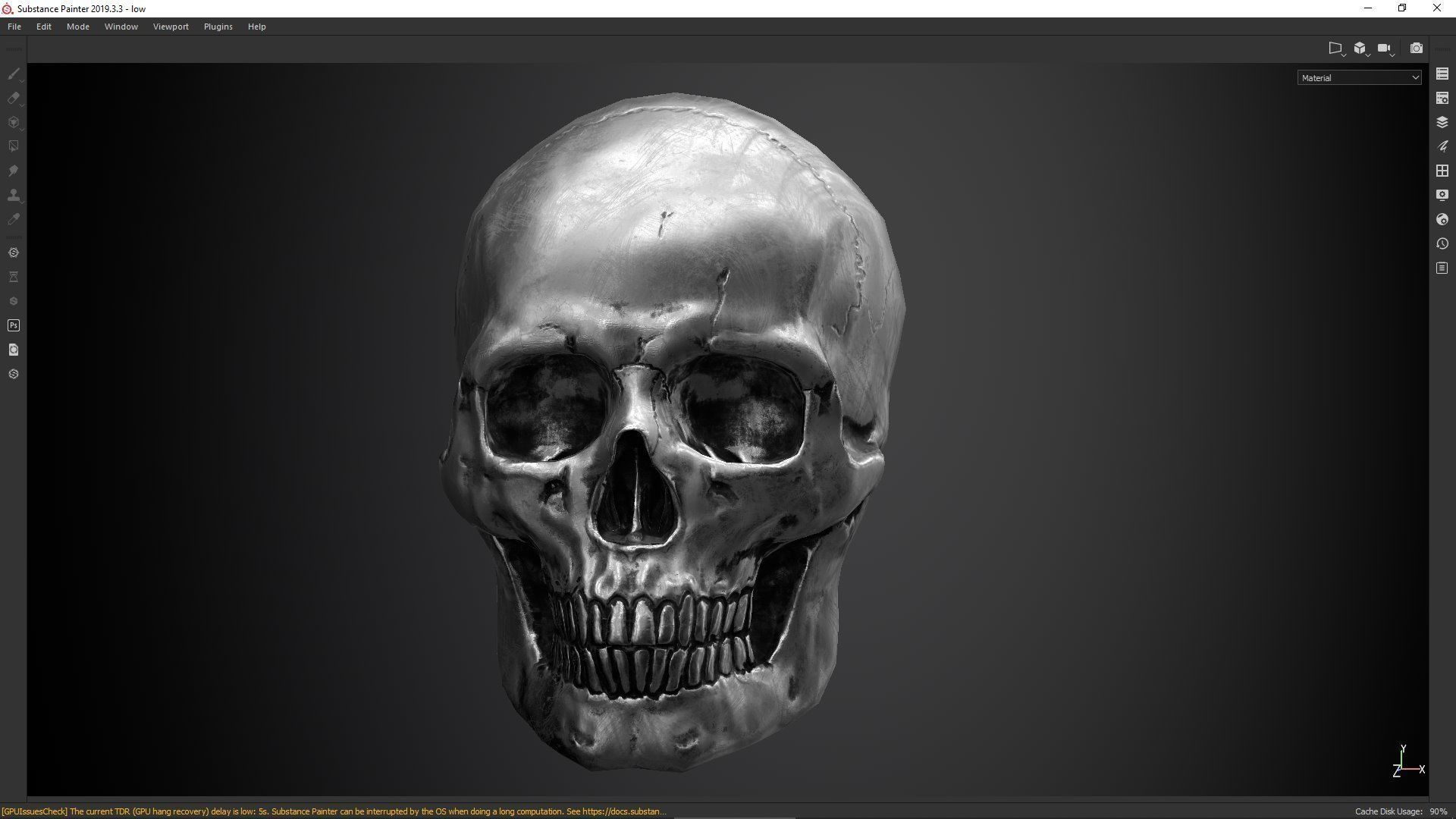 skull  PBR textures and low poly and high poly