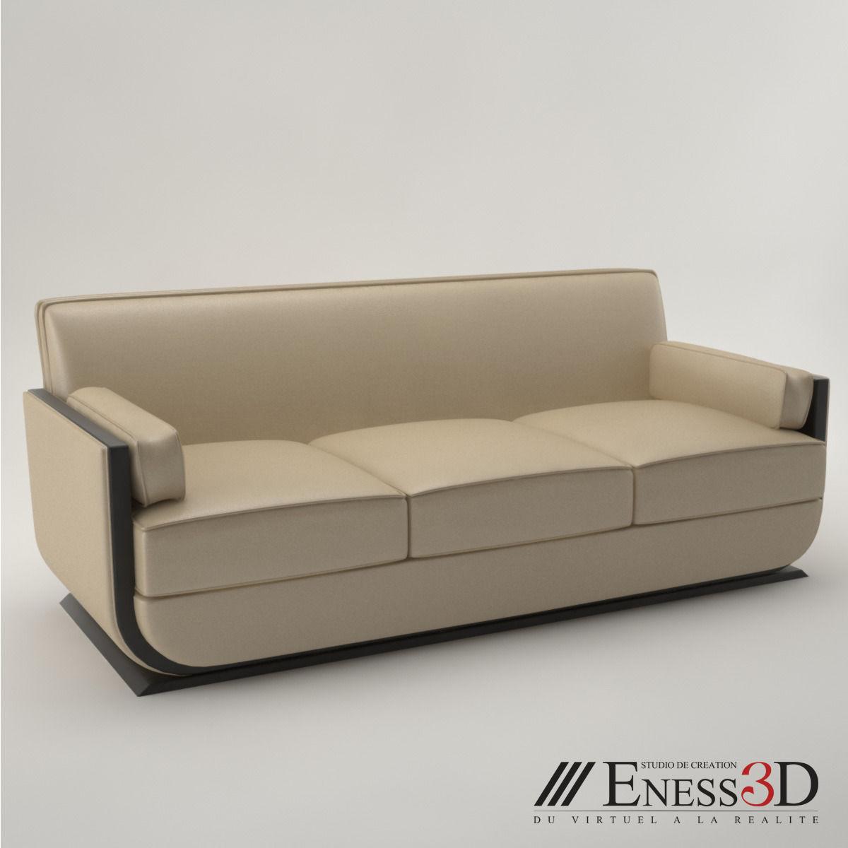 Exceptionnel Pro   Art Deco Sofa 1930 3d Model Max Obj Fbx Unitypackage 1 ...