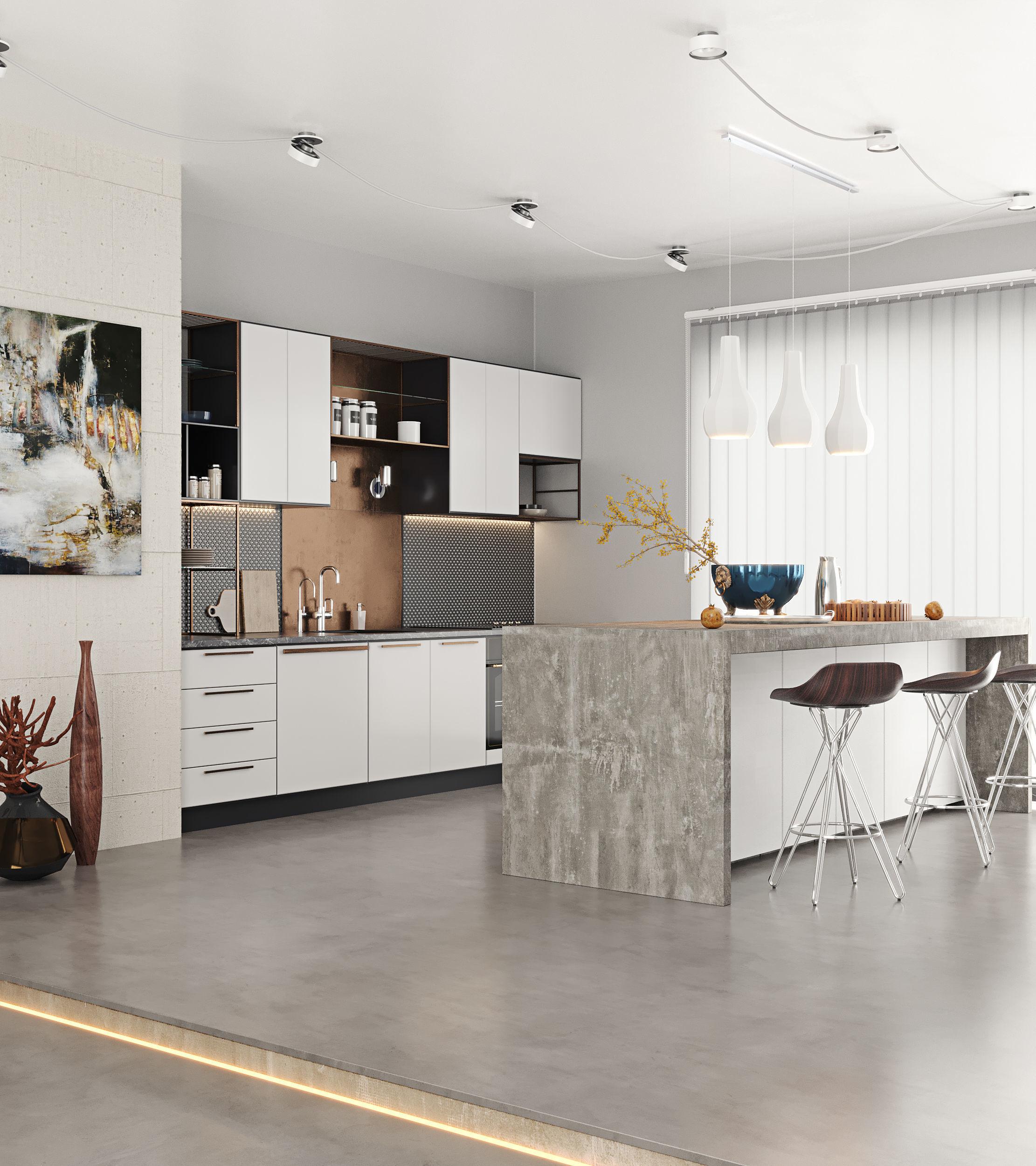 3d modern kitchen interior scene complete  cgtrader
