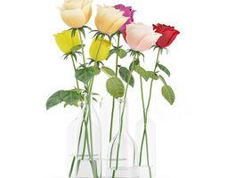 3d model roses in glass vases