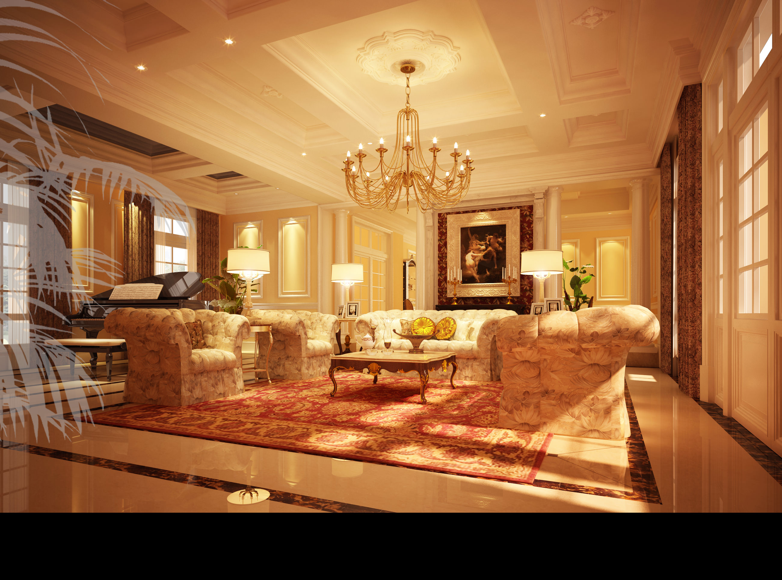 Huge Luxury Living Room 3D Model Max