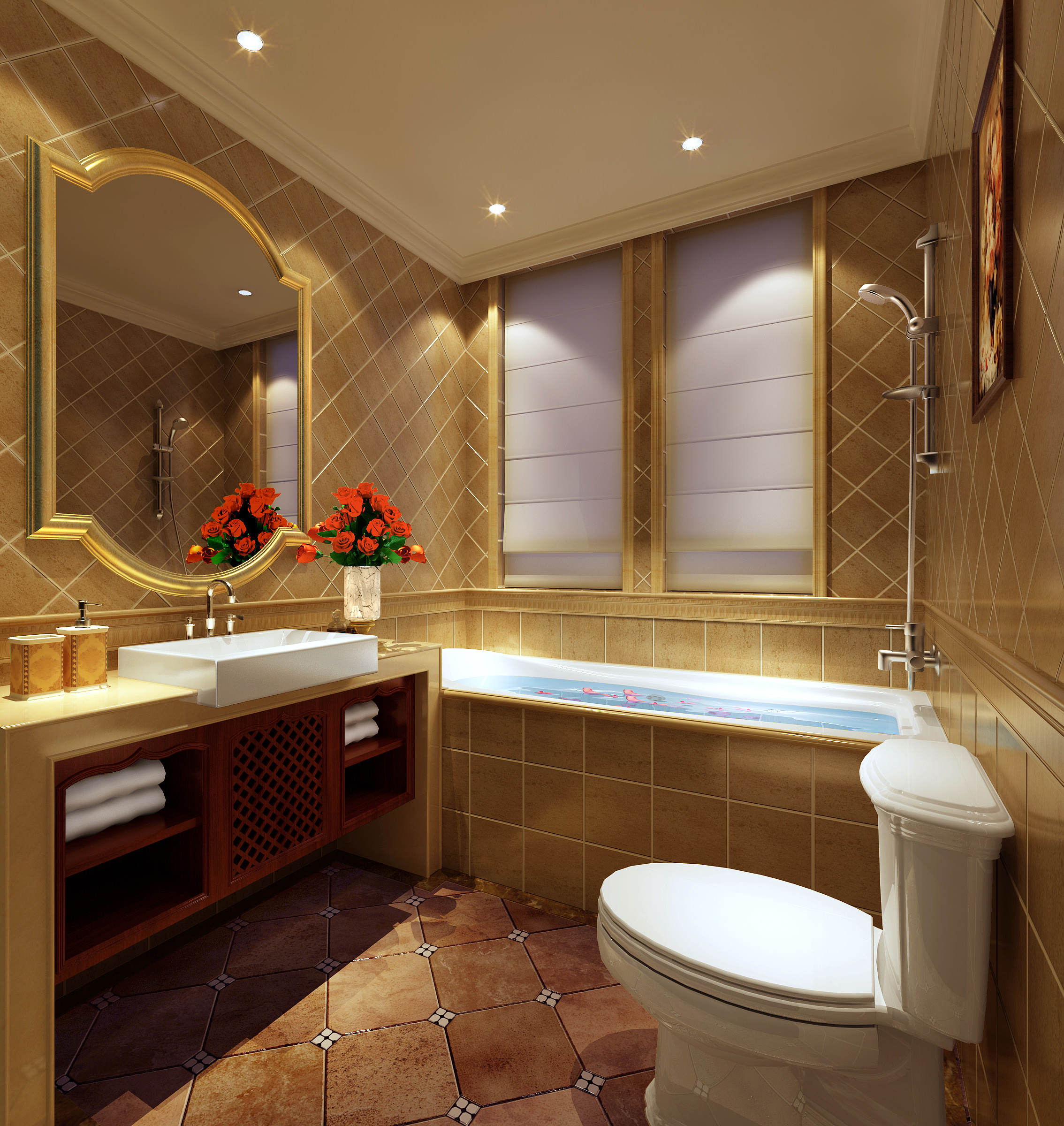Luxury bathroom 3d model max for Model home bathroom photos