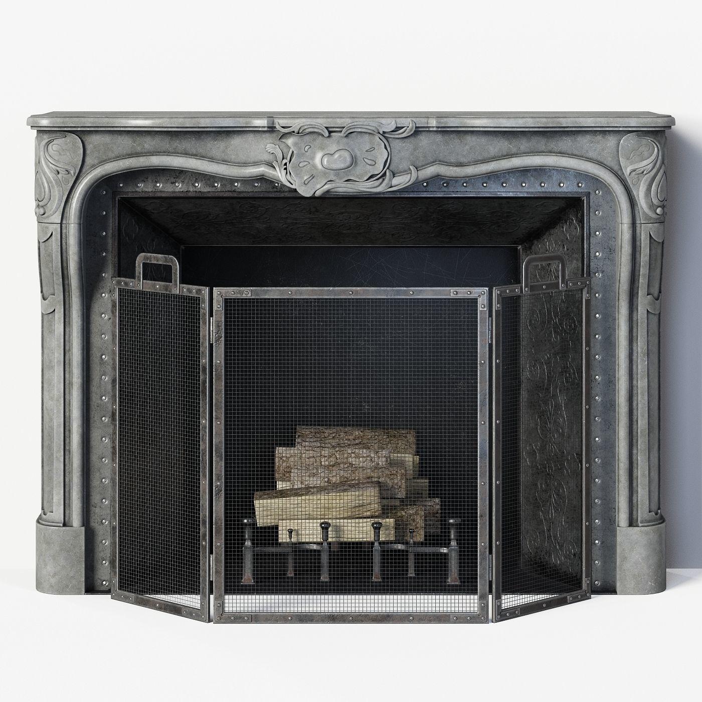 Regency Style Stone Fireplace