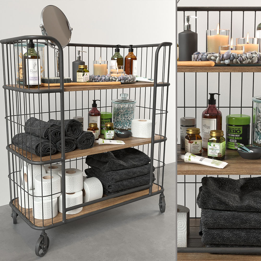 iron trolley with bathroom accessories