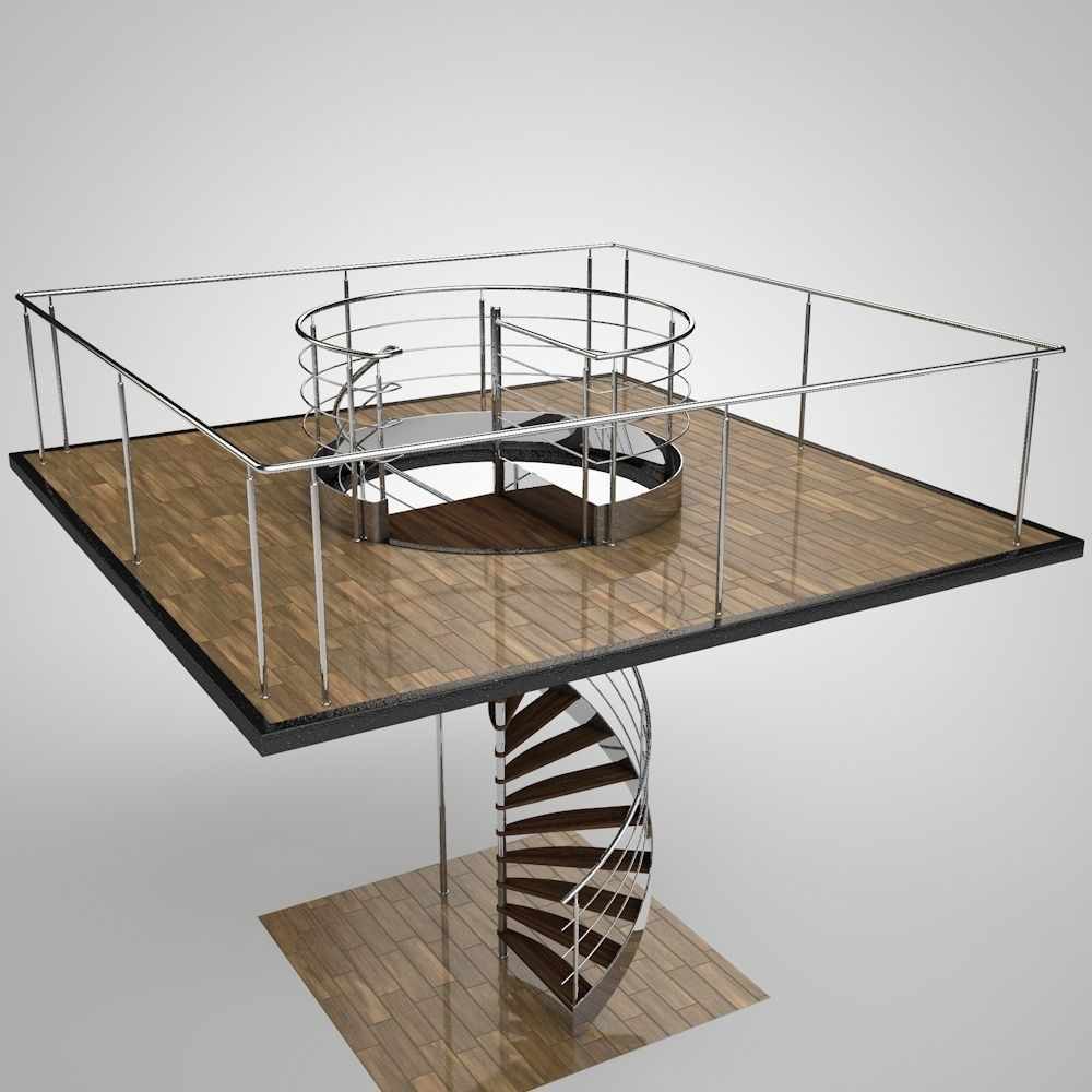 Spiral staircase 3d model obj 3ds fbx c4d mtl for Architecture spiral staircase